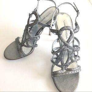 Via Spiga Melody Size 7 Silver Stud Metallic Heel